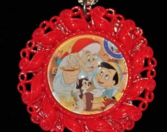 Vintage Disney Pinocchio Figaro Red Filigree Pendant Necklace