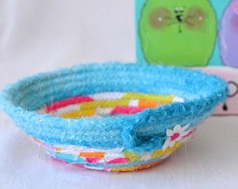 Cute Easter Basket, Easter Candy Dish, Handmade Fabric Basket, Pink Wedding Basket, Aqua Candy Bowl, Easter Decoration