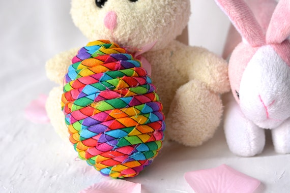 Sale... Easter Egg Bowl Filler, Rainbow Egg Ornament, Handmade Easter Egg Decoration, Basket Filler, Hand Coiled Fiber Easter Egg