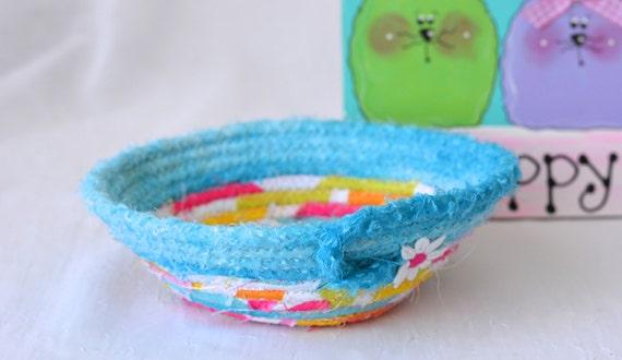 Cute Spring Basket, Modern Candy Dish, Handmade Fabric Basket, Mother's Day Basket, Aqua Candy Bowl, Modern Decoration