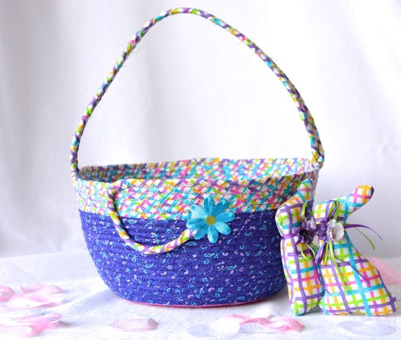 Girl Easter Basket and 1 Cute Matching Easter Bunny, Handmade Purple Easter Basket, Large Doll Bed, Purple Toy Bucket