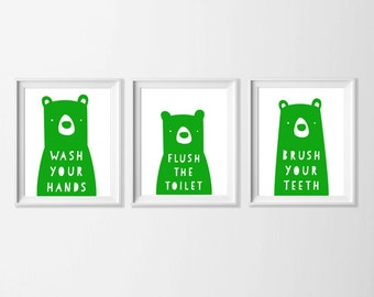 Bear Family Bathroom Rules Art Print Set, Wash Your Hands Forest Nursery, Zoo Bathroom Art Set, Woodland Boy Bathroom, Green Boy Bathroom