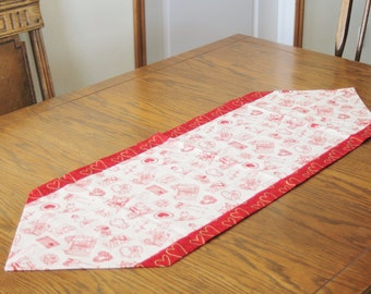 Valentine Table Runner with Vintage Print on Top and Red with Gold Hearts on Back