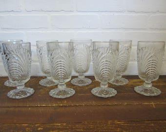 "Set of 4 Cambridge Caprice Pattern Clear Pressed Glass 6 1/4"" Tea Glasses"