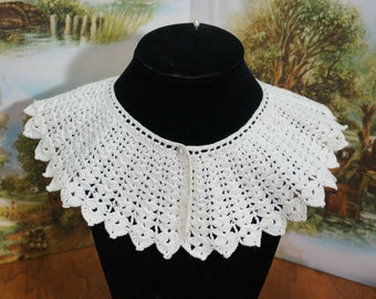 Handmade White Crochet Collar Child Size