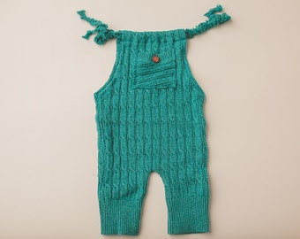 Turquoise Knit Sweater- Newborn Photography Overall Set