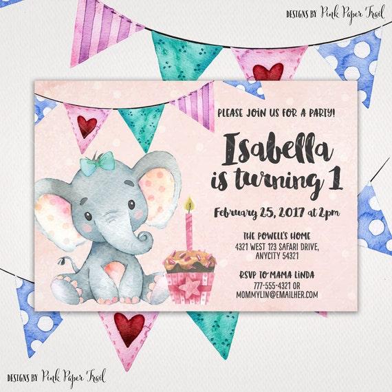 Cute girl elephant birthday invitation baby girl birthday party il570xn filmwisefo