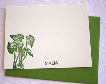 Personalized Letterpress Stationery  Kalo Taro Forest Green