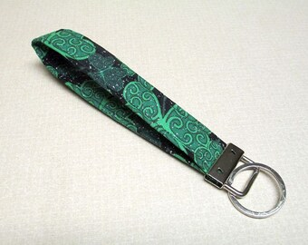 Shamrock key fob, St Patricks key fob, fabric key fob