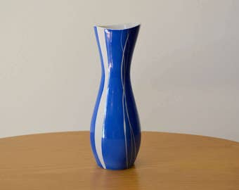 Modernist Blue and White Ceramic Vase by Wawel, Made in Poland