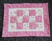 Doll Quilt, Rosebud in Pink, Hand Quilted