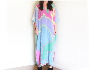 Vintage Silk Abstract Silk Caftan / High Fashion Boho / 80's Vintage / Silk Dress