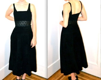 15% OFF SALE Vintage Black Leather Skirt Size Large// Long Maxi Midi Suede Leather Skirt SIze Large