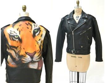 Vintage Black Leather Jacket with Tiger Air Brushed Painted Leather Motorcycle Biker Jacket Size Medium Large