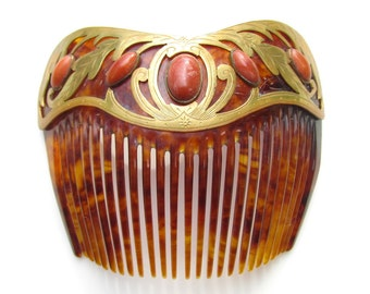 Art Nouveau Hair Comb with Natural Coral, Gilded Brass and Celluloid VINTAGE early 1900s