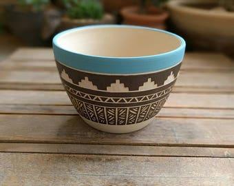 Ceramic planter pottery Carved  Vase pot home decor geometric  Aztec Wheel thrown vase bohemian succulent cactus planter indoor gardening