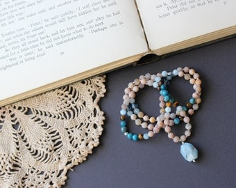 108 Bead Sunstone Gemstone Mala // teacher gift // one of a kind