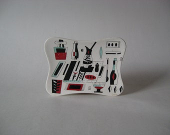 Excellent midcentury graphic soap dish spoon rest kitchen dining bar prints aqua red black and white