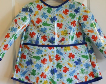 READY TO SHIP 4/5 Extra Long Kids Long Sleeved Art Smock Waterproof Apron with Colorful Frogs