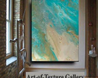 Resin Glass Large Original Texture Abstract Modern Ocean Water Aqua Teal Gold Tan Metal Gold Leaf Sculpture Knife Oil Painting by Je Hlobik