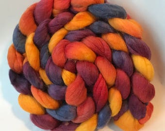 Polwarth silk spinning top Fiery Dusk 6.5 oz, roving