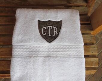 CTR Applique Towel  - Brown Hash Fabric