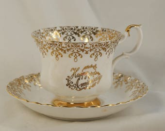 Tea cup and saucer bone china by Royal Albert made in England Happy Anniversary