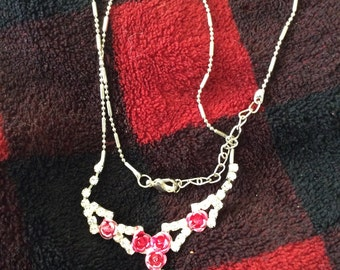 crystal necklace with pink metal roses vintage 80s no flaws Silvertone