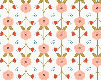 Vine in White  2240802-3 - HAPPY THOUGHTS  - by Alisse Courter for Camelot Cotton Fabrics