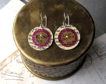 Wordy Tin Earrings, Tin Earrings, Cream Magenta  Colors, Sterling Ear Wires, Light Weight Earrings