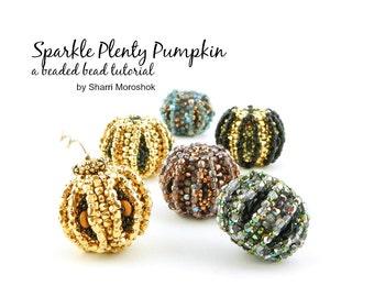 Sparkle Plenty Pumpkin - Peyote Stitch Beaded Bead tutorial by Sharri Moroshok