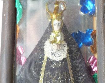 Vintage Mexican Folk Art Religous Shrine - Mexican TIn Art - Folk Art Tin - Mexican Religous Shrine