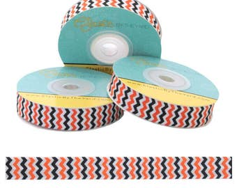 """Orange and Black Chevron on White - 5/8"""" Wide - Fold Over Elastic - Elastic By The Yard"""