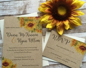 Rustic Wedding Invitation, Sunflower Wedding Invitation, Lace Wedding Invitation, Western Wedding Invitation, Country Wedding Invitation,