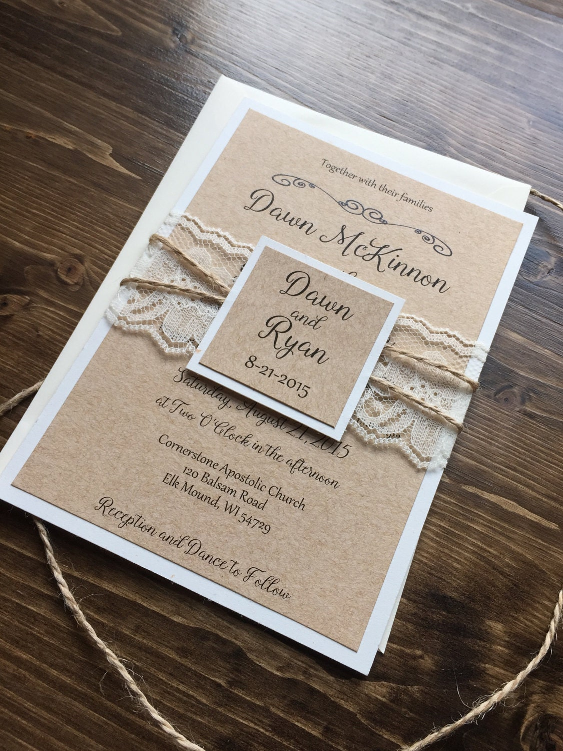 Rustic Wedding Invitation Vintage Wedding Invitation Shabby
