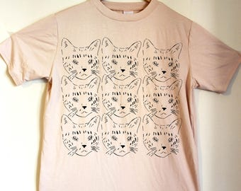 Pale Pink t shirt with Black cats print