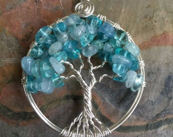 Tree of Life Pendant - Aquamarine/ Apatite Tree of Life Pendant Necklace, Wire Wrapped Tree of Life Pendant, March/December Birthstones