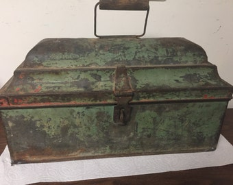 Vintage Rusty Green Toolbox Planter with Lid