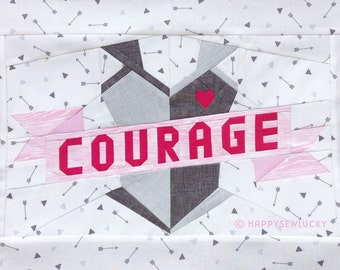 COURAGE tattoo quilt block pattern
