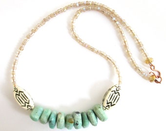 Nomad Chic Statement Necklace with Sliced Sky Blue Chrysoprase Stone Nuggets, Vintage Lucite Beads & Frosted Yellow Sea Glass Seed Beads