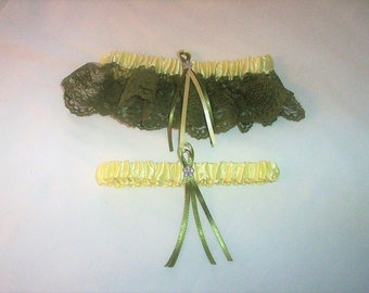 Light Yellow Satin / Sage Green Lace - 2 Piece Wedding Garter Set - 1 To Keep / 1 To Throw