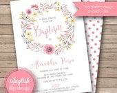 Watercolor Wreath Baptism Invitation, Watercolor Floral Baptism Invite, Baptism Invite  - Watercolor Wreath in Shades of Pink, Yellow, Gray