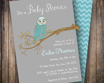 Vintage Owl Baby Shower Invitation, Retro Owl Baby Shower Invite, Printable Baby Shower Invitation - Vintage Funky Owl in Gray and Teal