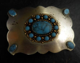 Nickel SILVER and Turquoise belt Buckle, Southwest USA