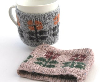 Flower Mug cozy , decorative mug hug , wool cup warmer , pink flower cup cozy,  kitchen accessory , birthday gift for her , small size