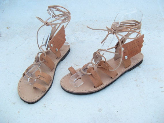 Greek Sandals,Gladiator leather sandals/Unisex sandals with wings