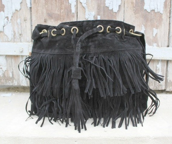 Fringed bag , bag with fringes - Boho bag  -sacoche femme