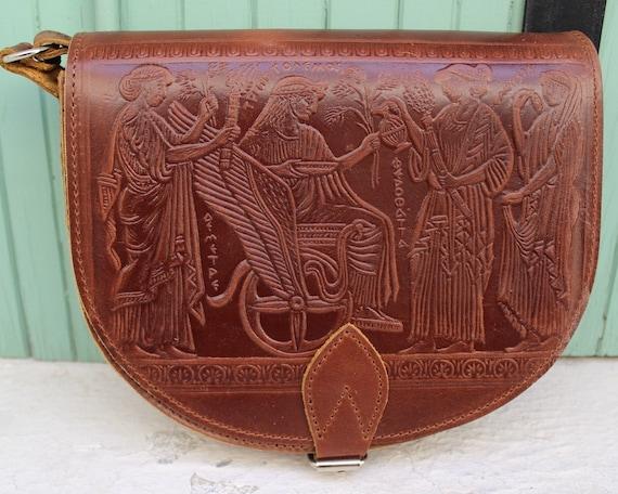Leather Saddle Bag  Classic Saddle Bag Crossbody Saddle Bag  Leather Shoulder Bag  Handmade Women's Bag  greek mythology