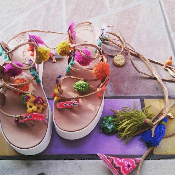 DAY SALE Pompom sandals/ Boho sandals-flatforms-Sandales compensées, cuir