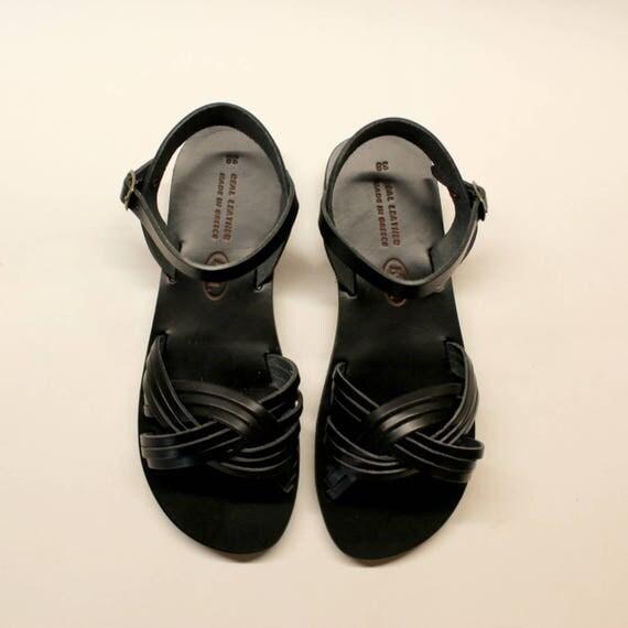 Womens Sandals, Leather Sandals, SALE size 38 -US 7-7.5 Flat Sandals,Black Sandals, Leather Flat Sandals